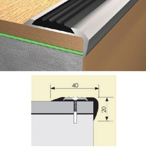 Угол алюминиевый с резиновой вставкой, 40х20 мм 0,9м
