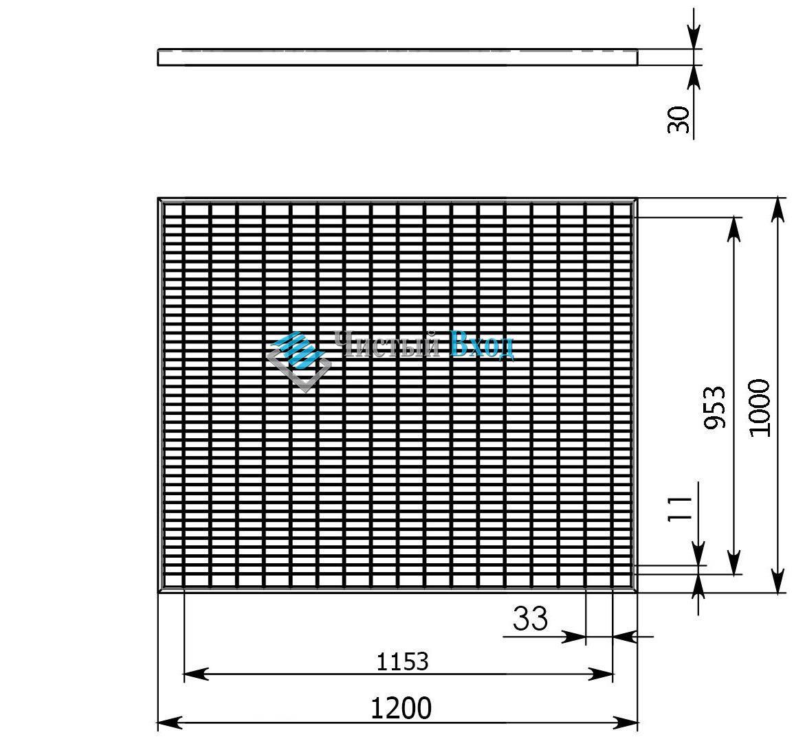 Стальная оцинкованная решетка 33х11/30х2 RA - 1200х1000мм. с ячейкой наоборот