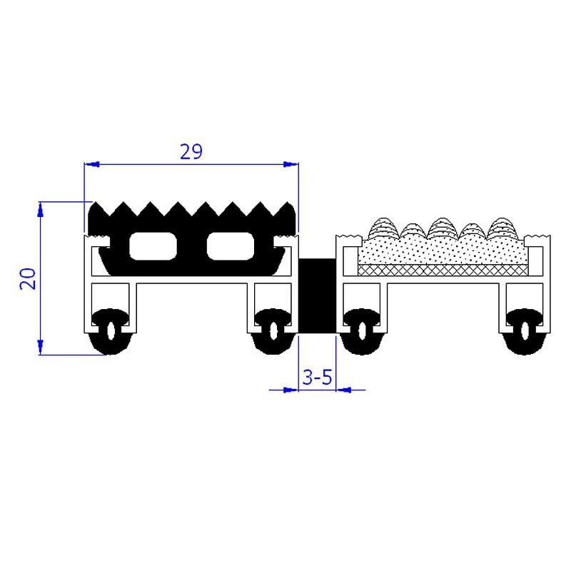 Грязезащитная алюминиевая решетка Сити Статус h=20мм - резина+текстиль