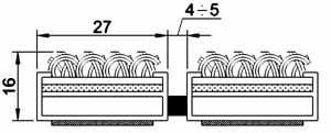 Грязезащитная алюминиевая решетка Mini Plus 16 мм. - текстиль
