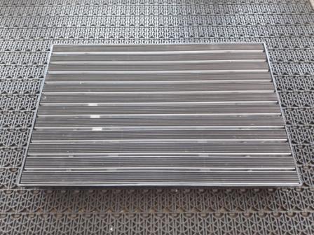 Придверная решетка алюминиевая 390х590мм резина и пластиковый поддон 400х600х65мм